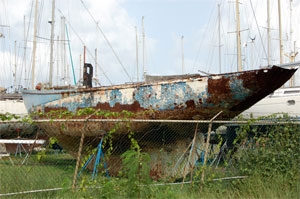 Sloop Kajen in Rodney Bay Boatyard
