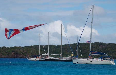 Riding the spinaker, Tobago Cays, SVG